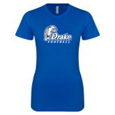 Next Level Ladies SoftStyle Junior Fitted Royal Tee-Drake Football