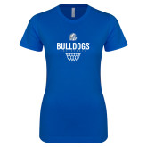 Next Level Ladies SoftStyle Junior Fitted Royal Tee-Bulldogs Basketball Net