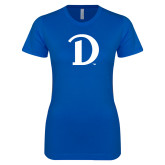 Next Level Ladies SoftStyle Junior Fitted Royal Tee-Drake D Logo