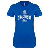 Next Level Ladies SoftStyle Junior Fitted Royal Tee-2018 Womens Basketball Tournament Champions