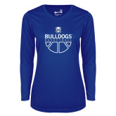 Ladies Syntrel Performance Royal Longsleeve Shirt-Bulldogs Basketball