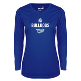 Ladies Syntrel Performance Royal Longsleeve Shirt-Bulldogs Basketball Net
