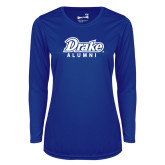 Ladies Syntrel Performance Royal Longsleeve Shirt-Drake Alumni