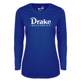 Ladies Syntrel Performance Royal Longsleeve Shirt-Drake University
