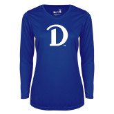 Ladies Syntrel Performance Royal Longsleeve Shirt-Drake D Logo