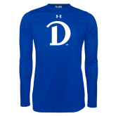 Under Armour Royal Long Sleeve Tech Tee-Drake D Logo