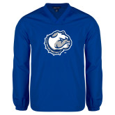 V Neck Royal Raglan Windshirt-Bulldog Head