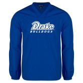V Neck Royal Raglan Windshirt-Athletic Wordmark