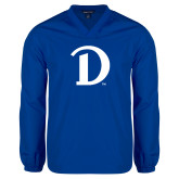 V Neck Royal Raglan Windshirt-Drake D Logo