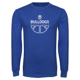 Royal Long Sleeve T Shirt-Bulldogs Basketball