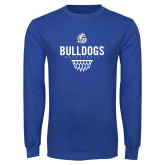 Royal Long Sleeve T Shirt-Bulldogs Basketball Net