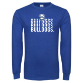 Royal Long Sleeve T Shirt-Bulldogs Repeating
