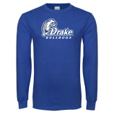 Royal Long Sleeve T Shirt-Drake Bulldogs Distressed