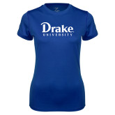 Ladies Syntrel Performance Royal Tee-Drake University