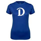 Ladies Syntrel Performance Royal Tee-Drake D Logo