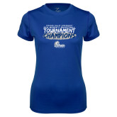 Ladies Syntrel Performance Royal Tee-2018 Womens Basketball Tournament Champions
