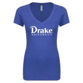 Next Level Ladies Vintage Royal Tri Blend V Neck Tee-Drake University