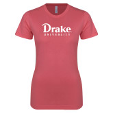 Next Level Ladies SoftStyle Junior Fitted Pink Tee-Drake University
