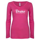 ENZA Ladies Hot Pink Long Sleeve V Neck Tee-Drake University
