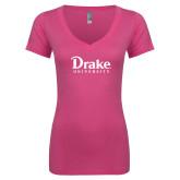 Next Level Ladies Junior Fit Ideal V Pink Tee-Drake University