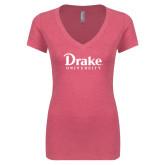 Next Level Ladies Vintage Pink Tri Blend V Neck Tee-Drake University