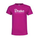 Youth Cyber Pink T Shirt-Drake University