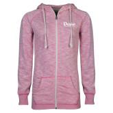 ENZA Ladies Hot Pink Marled Full Zip Hoodie-Drake University