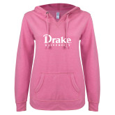 ENZA Ladies Hot Pink V Notch Raw Edge Fleece Hoodie-Drake University