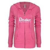 ENZA Ladies Hot Pink Light Weight Fleece Full Zip Hoodie-Drake University