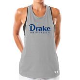Ladies Under Armour Grey Pinhole Tank-Drake University