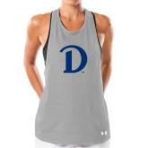 Ladies Under Armour Grey Pinhole Tank-Drake D Logo