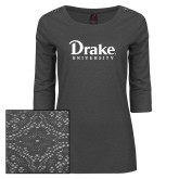 Ladies Charcoal Heather Lace 3/4 Sleeve Tee-Drake University