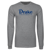 Grey Long Sleeve T Shirt-Drake University