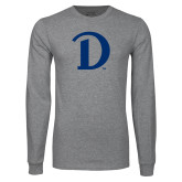 Grey Long Sleeve T Shirt-Drake D Logo