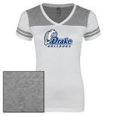 Ladies White/Heathered Grey Juniors Varsity V Neck Tee-Primary Mark