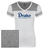 Ladies White/Heathered Grey Juniors Varsity V Neck Tee-Drake University
