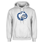 White Fleece Hoodie-Bulldog Head