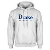 White Fleece Hoodie-Drake University