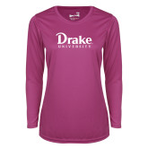 Ladies Syntrel Performance Raspberry Longsleeve Shirt-Drake University