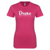 Ladies SoftStyle Junior Fitted Fuchsia Tee-Drake University