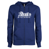 ENZA Ladies Royal Fleece Full Zip Hoodie-Athletic Wordmark