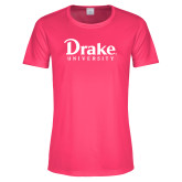 Ladies Performance Hot Pink Tee-Drake University