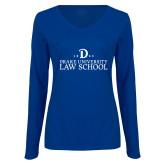 Ladies Royal Long Sleeve V Neck Tee-1865 Drake Law School