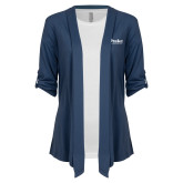 Ladies Navy Drape Front Cardigan-Drake University