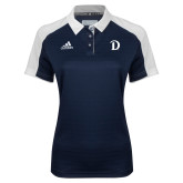 Ladies Adidas Modern Navy Varsity Polo-Drake D Logo