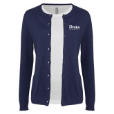 Ladies Navy Cardigan-Drake University