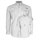 Columbia Bahama II White Long Sleeve Shirt-Drake University