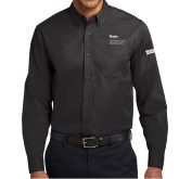 Black Twill Button Down Long Sleeve-Robert and Billy Center, place DRA196b on the sleeve