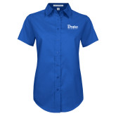 Ladies Royal Twill Button Up Short Sleeve-Drake University