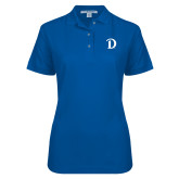 Ladies Easycare Royal Pique Polo-Drake D Logo